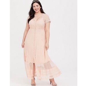 Torrid Blush Lace Embroidered Lace Maxi Dress